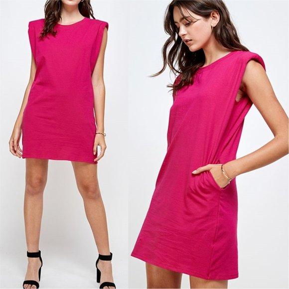 MODERN GIRL Padded Shoulder Shift dress - …